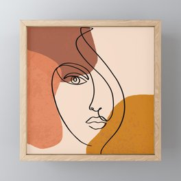 Abstract Shapes-Face Line Art Framed Mini Art Print