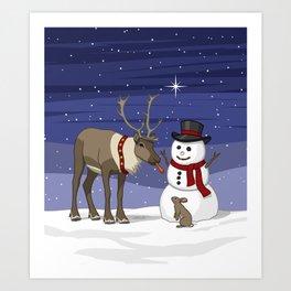 Santa's Reindeer Giving Snowman's Carrot Nose To Bunny Art Print