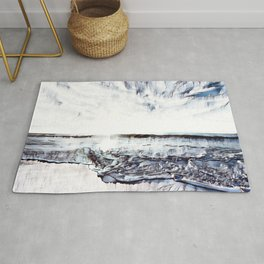 Abstract Blue Ocean Waves Rolling onto Beach with Sunset Rug