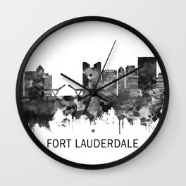Fort Lauderdale Florida Skyline BW Wall Clock