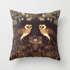 Owl Nest Throw Pillow