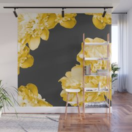 Yellow Flowers On A Dark Background #decor #society #homedecor Wall Mural