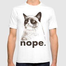 GRUMPY CAT - Nope (version 2) White MEDIUM Mens Fitted Tee