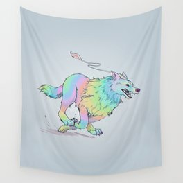 Rainbow Wolf Wall Tapestry