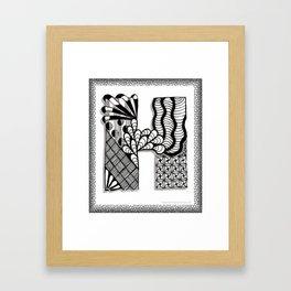 Zentangle H Monogram Alphabet Initials Framed Art Print