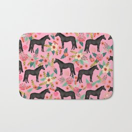 black beauty, mare, horse, horses, floral, florals, black horse, horse bedding, horse decor, cowgirl Bath Mat