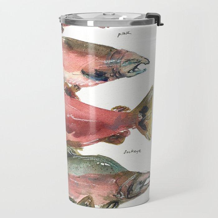 Salmon Salmon Salmon Travel Mug