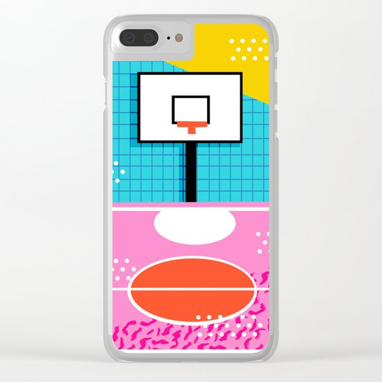 Ballin' - memphis retro neon trendy throwback sports basketball pop art Clear iPhone Case