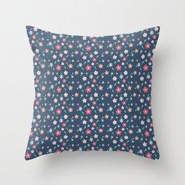 Flowery Summer Dark Throw Pillow