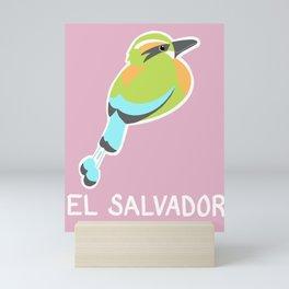Torogoz El Salvador - pink background  Mini Art Print