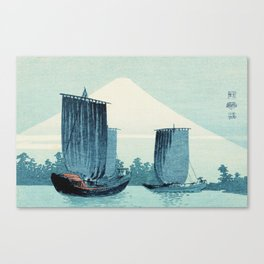 Japanese Sailboats and Mount Fuji Canvas Print