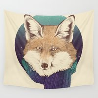 fox Wall Tapestries featuring Fox by Laura Graves