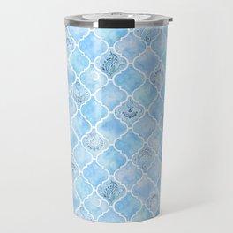 Watercolor Arabesque Tiles with Art Nouveau Focal Designs in Blue Travel Mug