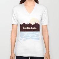 fringe V-neck T-shirts featuring Reiden Lake (Fringe) by avoid peril
