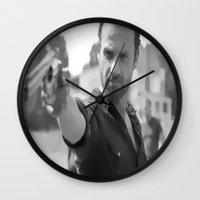 rick grimes Wall Clocks featuring Rick Grimes by OliGilbert