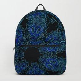 Deep Ocean Blue Teal Floral Design Backpack