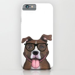 Hipster Pit Bull iPhone Case