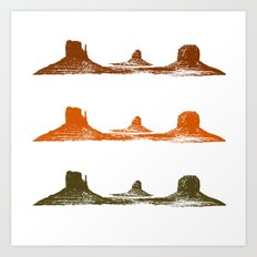 Monument Valley, 3 mountains, 3 colors Art Print