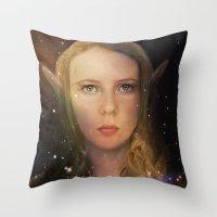 tina fey Throw Pillows featuring Fey Profile by Naomi Shingler