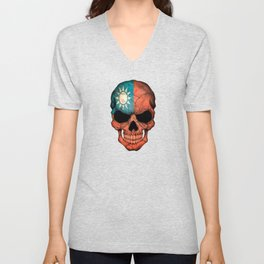 Dark Skull with Flag of Taiwan Unisex V-Neck