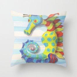 Striated Seahorse Throw Pillow