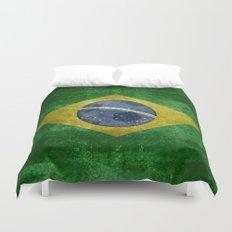 Vintage Brazilian flag with football (soccer ball) Duvet Cover