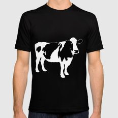 Cow on blue Black MEDIUM Mens Fitted Tee
