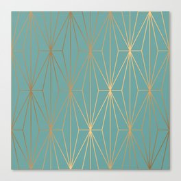ELEGANT BLUE GOLD PATTERN Canvas Print