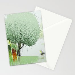 By The River-Green Stationery Cards