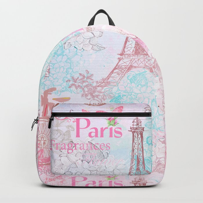 I love Paris- Vintage  Shabby Chic in pink - Eiffeltower France Flowers Floral Backpack