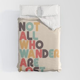 Not All Who Wander Are Lost Typography - Retro Rainbow Duvet Cover