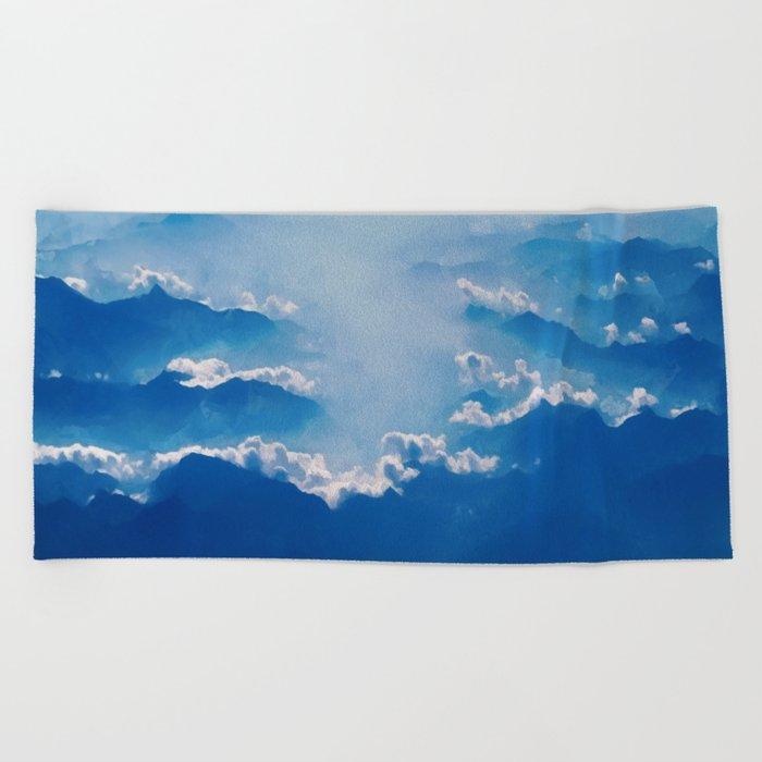 Blue mountains, white clouds Beach Towel