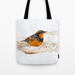 Varied Thrush in the Snow Tote Bag