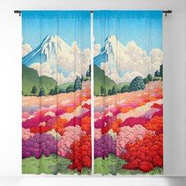 View of an Azalea Garden and Mt. Fuji: Hasui, Kawase Original Japanese Woodblock Print Blackout Curtain