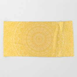 The Most Detailed Intricate Mandala (Mustard Yellow) Maze Zentangle Hand Drawn Popular Trending Beach Towel