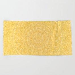 The Most Detailed Intricate Mandala (Mustard Yellow) Maze Zentangle Hand Drawn Popular Trending Beach Towel