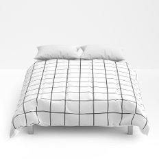 White Black Grid Minimalist Comforters