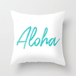 Aloha in Tropical Blue Throw Pillow
