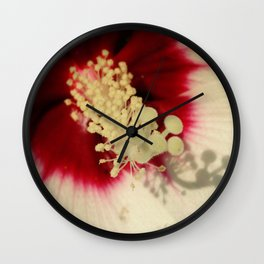 Hibiscus Flower Close Up Photography Floral Art Wall Clock