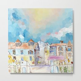 Colorful street in old town under abstract sky Metal Print