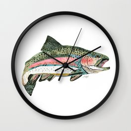 Rainbow Trout Collage Wall Clock
