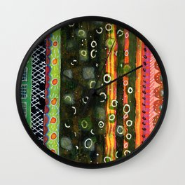 Absorbed Rings with Vertical Stripes Pattern Wall Clock