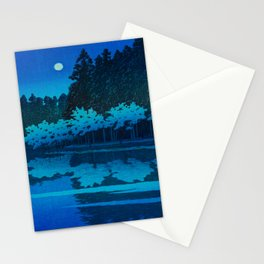 Vintage Japanese Woodblock Print Blue Forest At Night White Moonlight Mystical Trees Stationery Cards