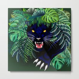 Black Panther Jungle Spirit Metal Print