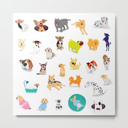 Pattern of dogs, adorable and friendly animal. Metal Print