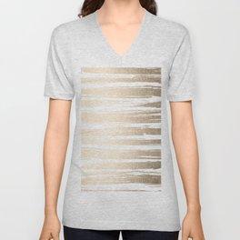 White Gold Sands Painted Stripes Unisex V-Neck