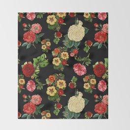 Black and red Vintage roses Throw Blanket