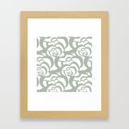 Sage Green Floral Flower Clouds Framed Art Print