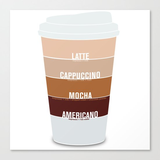 four shades of coffee + ingredients Canvas Print