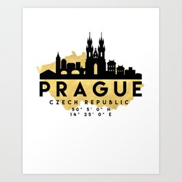 PRAGUE CZECH REPUBLIC SILHOUETTE SKYLINE MAP ART Art Print